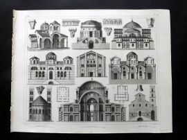 Heck 1849 Antique Architecture Print. Domes, Profiles